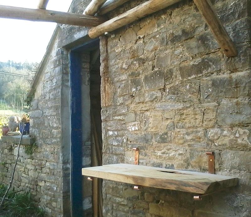 Cantilevered Sweet Chestnut garden shelf