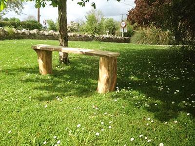 Log-slab garden bench