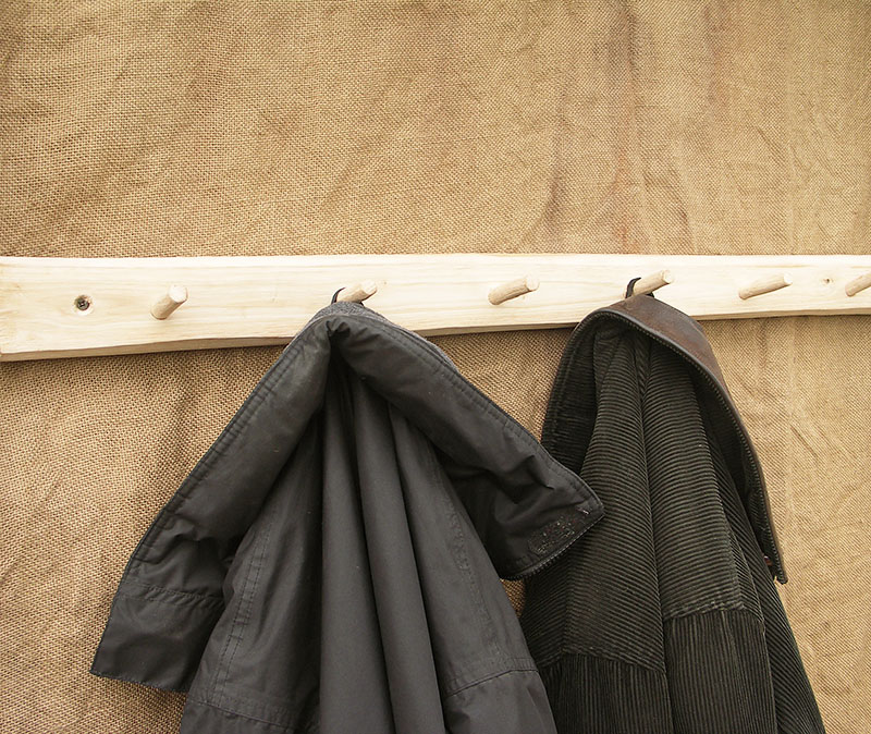 Rustic chestnut peg coat rail