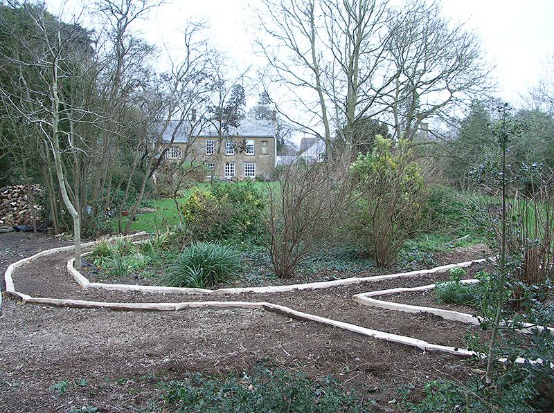 Sweet chestnut path edging